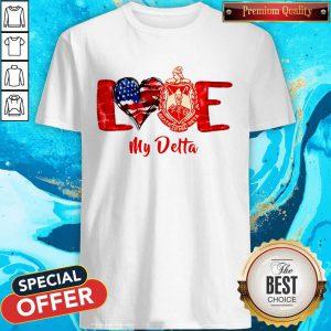 Love Heart American Flag Delta Sigma Theta Shirt