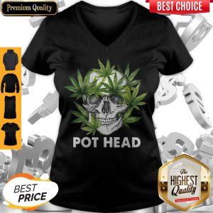 Official Cannabis Skull Weed Pot Head V-neck