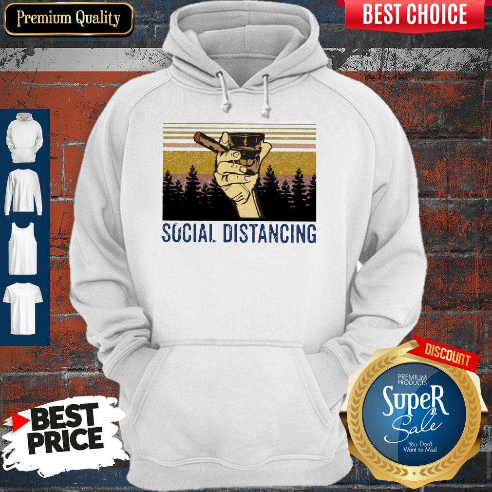 Official Cigar Social Distancing Vintage Hoodie