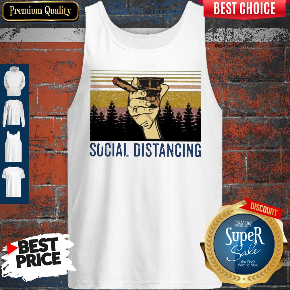 Official Cigar Social Distancing Vintage Tank Top