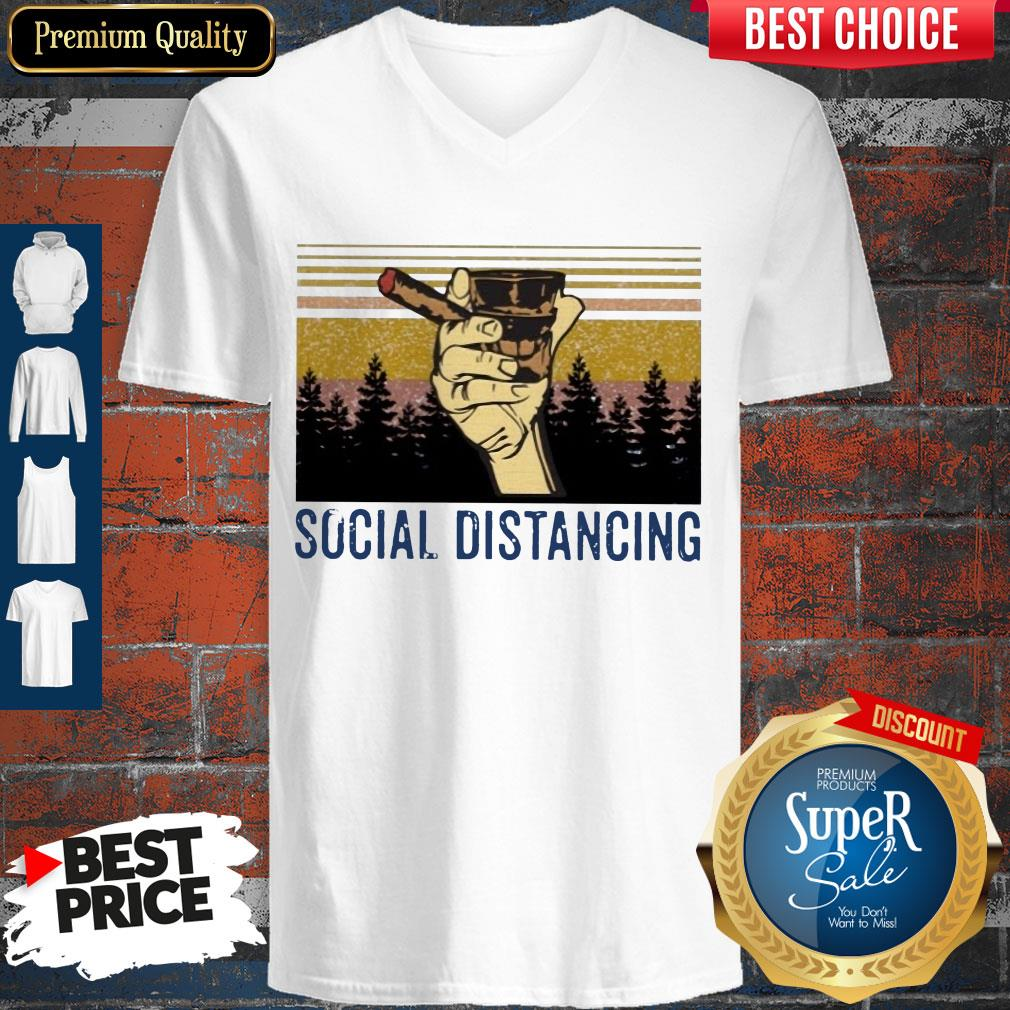 Official Cigar Social Distancing Vintage V-neck