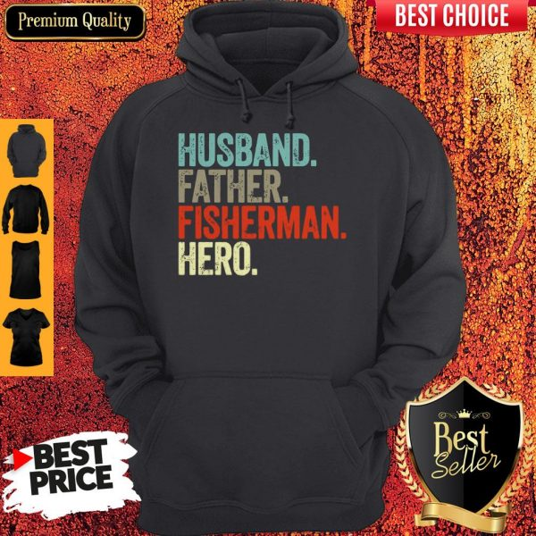 Official Husband Father Fisherman Hero Hoodie