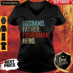 Official Husband Father Fisherman Hero V-neck