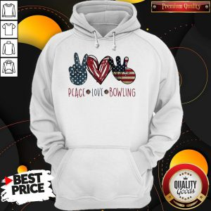 Official Peace Love Bowling America Flag Hoodie