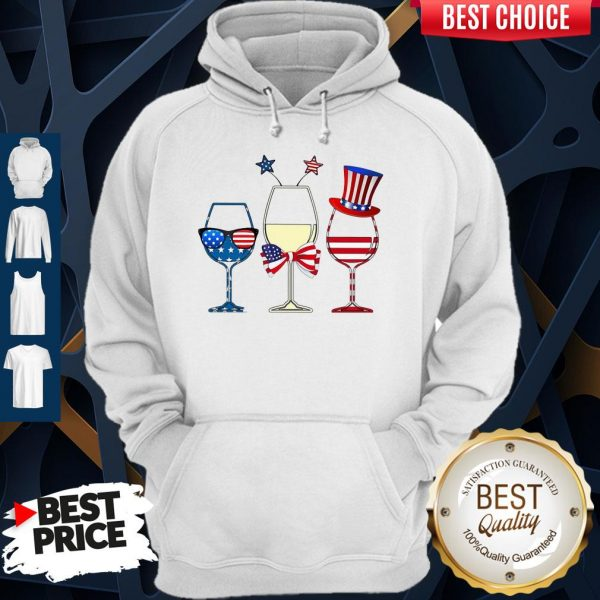 Official Wine Glass America Flag 4th Of July Hoodie