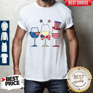 Official Wine Glass America Flag 4th Of July Shirt