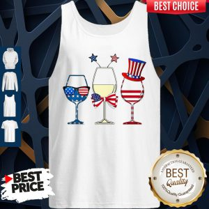 Official Wine Glass America Flag 4th Of July Tank Top