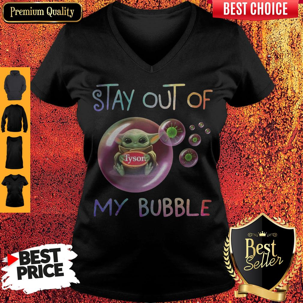 Star Wars Baby Yoda Hug Tyson Covid-19 Stay Out Of My Bubble V-neck