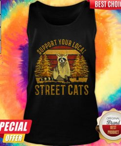 Support Your Local Street Cats Raccoon Sunset Tank Top