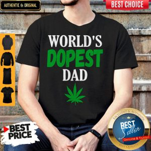World's Dopest Dad Weed Marijuana Cannabis Leaf Shirt