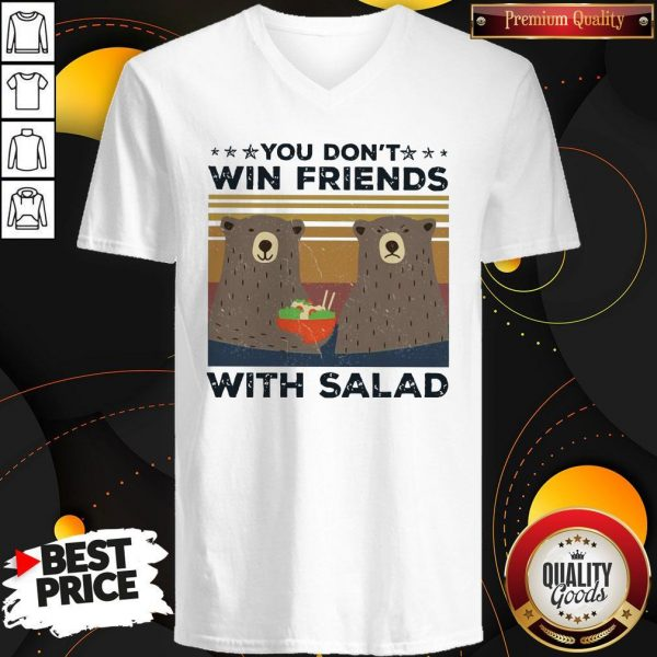 Bear You Don't Win Friends With Salad Vintage V-neck