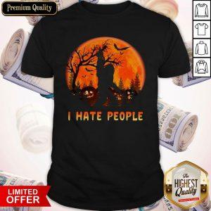 Bigfoot I Hate People Halloween Moon Shirt
