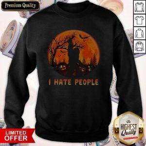 Bigfoot I Hate People Halloween Moon Sweatshirt