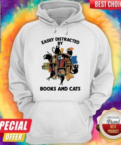 Librarian Easily Distracted By Books And Cats Black Hoodie
