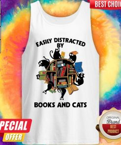 Librarian Easily Distracted By Books And Cats Black Tank Top
