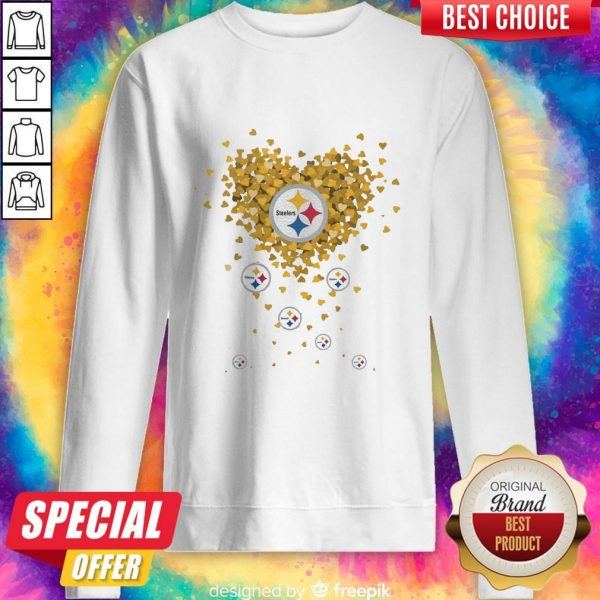 Love Pittsburgh Steelers Football Hearts Sweatshirt