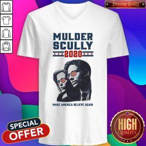 Mulder Scully 2020 Make America Believe Again V-neck