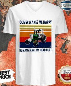 Oliver Makes Me Happy Humans Make My Head Hurt Vintage V-neck