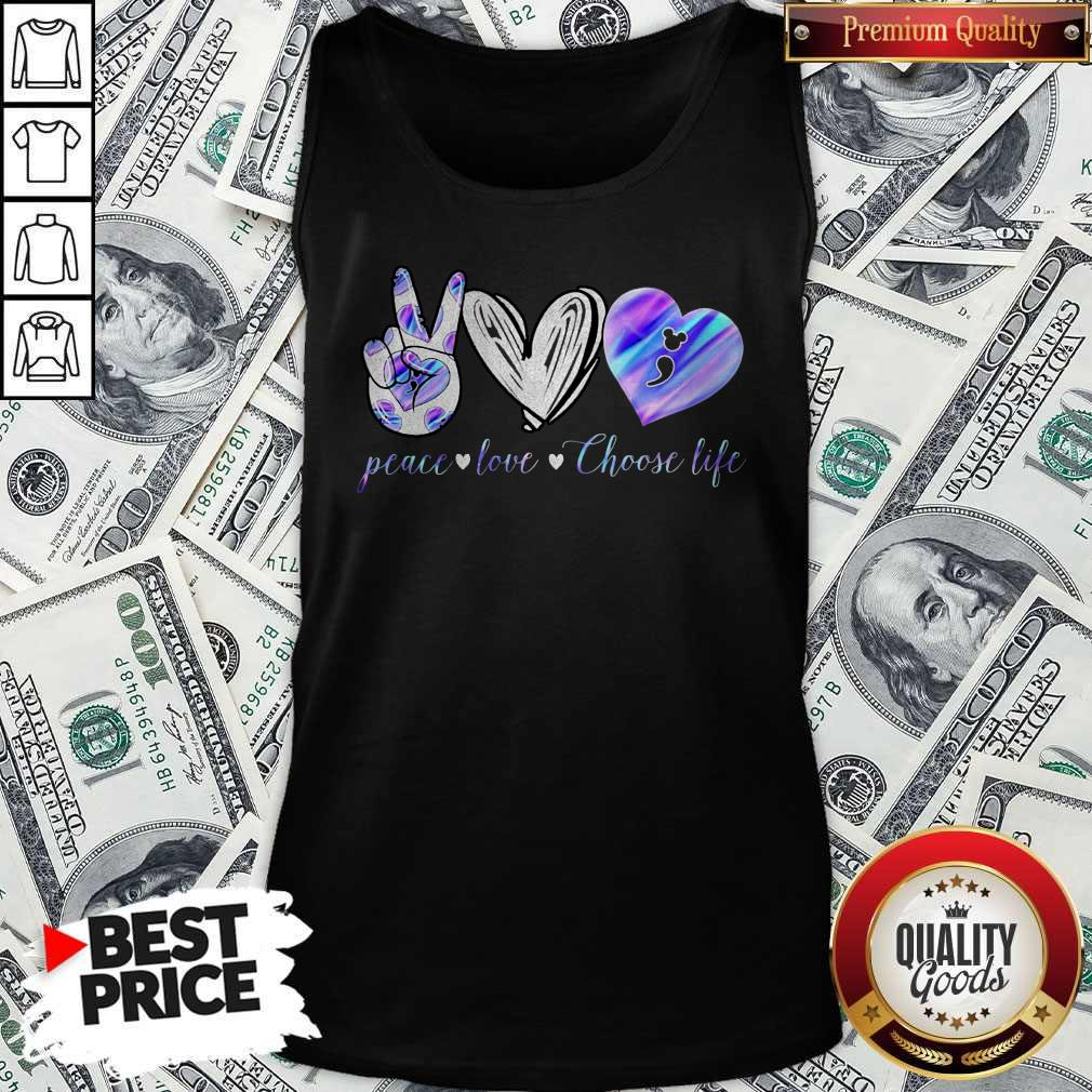 Peace Love Choose Life Mickey Mouse Tank Top