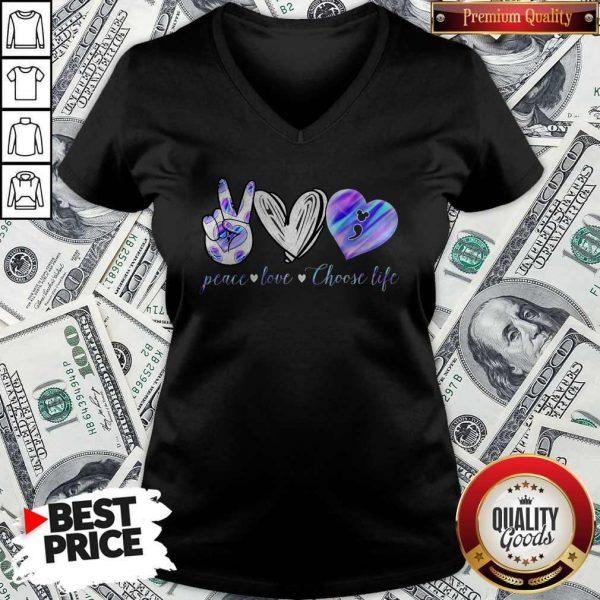 Peace Love Choose Life Mickey Mouse V-neck