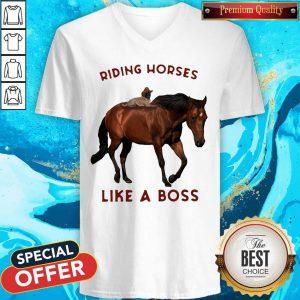 Riding Horses Like A Boss Flowers V-neck
