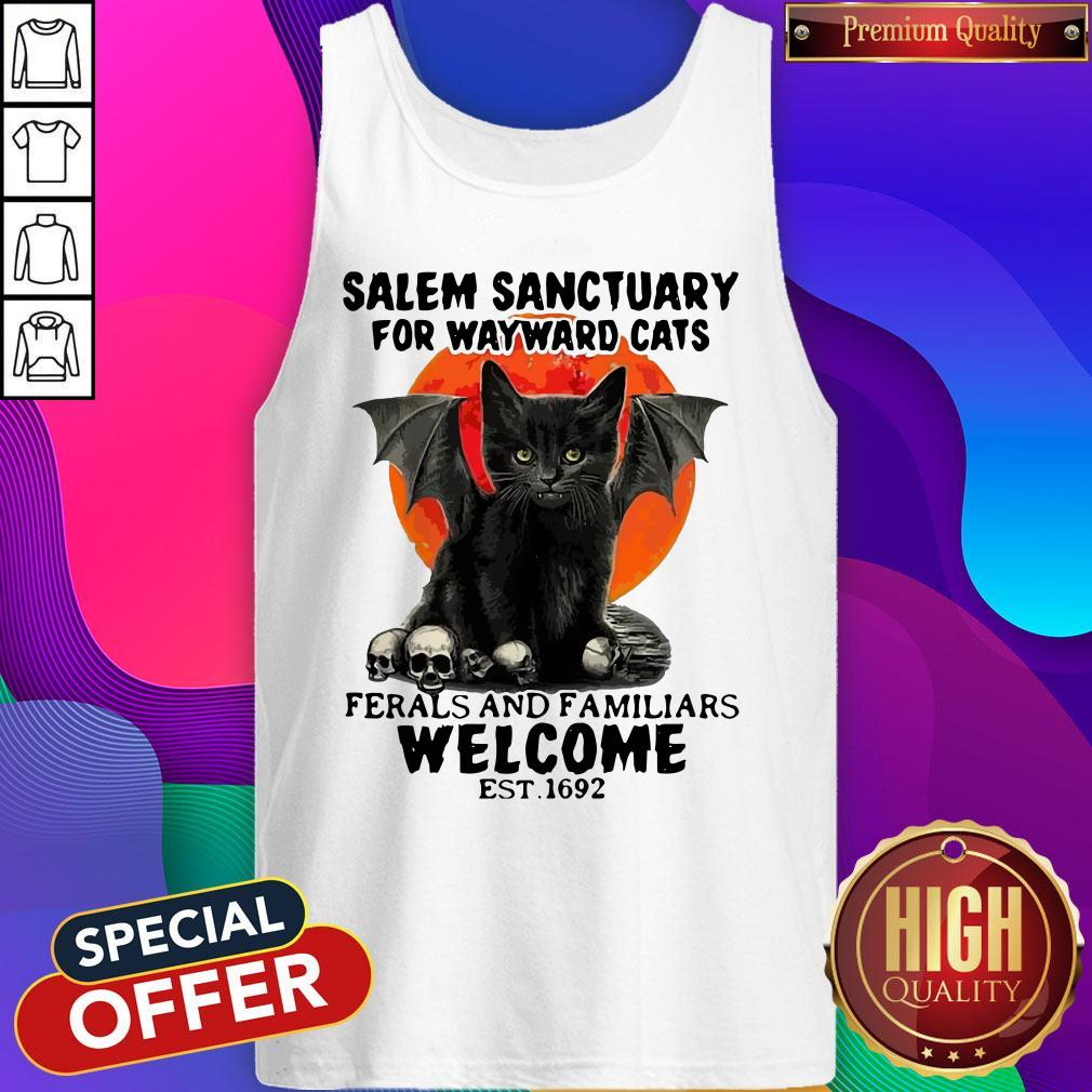 Salem Sanctuary For Wayward Cats Ferals And Familiars Welcome Est 1692 Blood Moon Tank Top