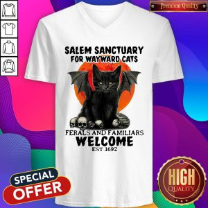 Salem Sanctuary For Wayward Cats Ferals And Familiars Welcome Est 1692 Blood Moon V-neck