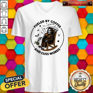 Skeleton Fueled By Coffee And Cuss Words V-neck