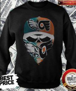Skull Face Mask Eagles And Philadelphia Flyers Logo Sweatshirt