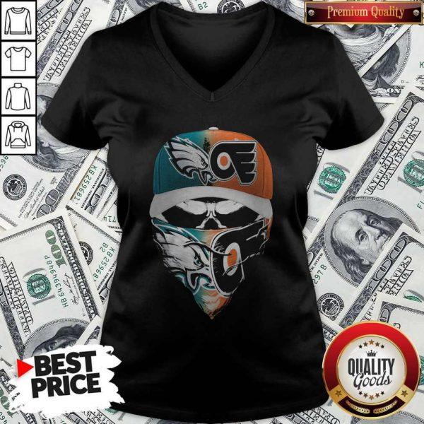 Skull Face Mask Eagles And Philadelphia Flyers Logo V-neck