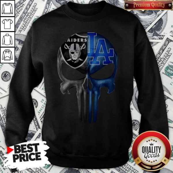 Skull Oakland Raiders And Los Angeles Dodgers Logo Sweatshirt