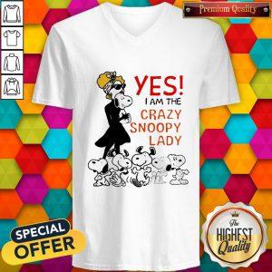 Snoopy Yes I Am The Crazy Snoopy Lady V-neck
