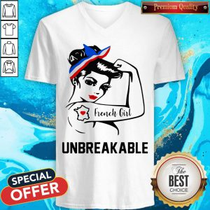 Strong Woman Tattoo French Girl Unbreakable V-neck