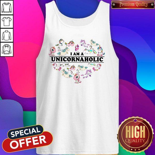 Unicorn Heart I Am Unicornaholic Tank Top