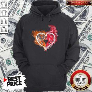 Chicago Bears And Nebraska Cornhuskers Heart Fire Hoodie