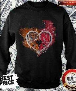 Chicago Bears And Nebraska Cornhuskers Heart Fire Sweatshirt