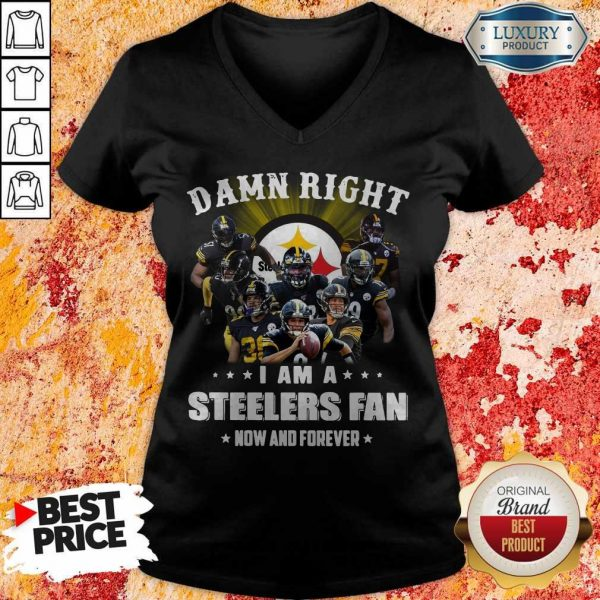 Damn Right I Am A Steelers Fan Now And Forever V-neDamn Right I Am A Steelers Fan Now And Forever V-neckck
