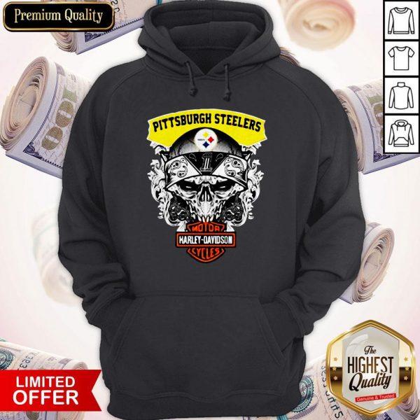 Funny Harley Davidson Pittsburgh Steelers Skull Hoodie