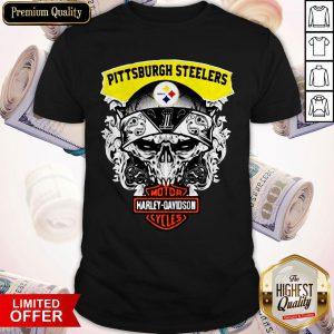 Funny Harley Davidson Pittsburgh Steelers Skull Shirt