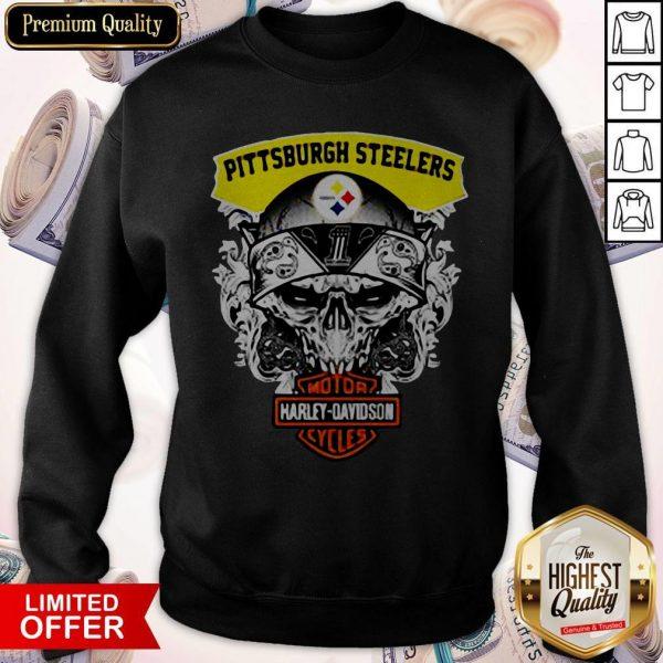 Funny Harley Davidson Pittsburgh Steelers Skull Sweatshirt
