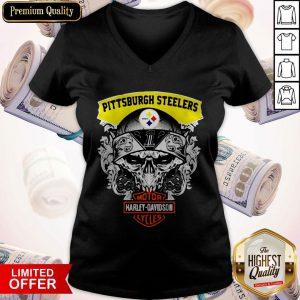 Funny Harley Davidson Pittsburgh Steelers Skull V-neck