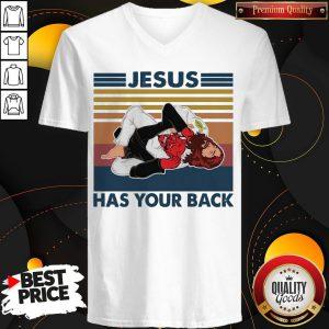 Funny Jesus Has Your Back Vintage V-neck