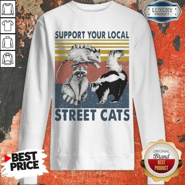 Funny Racoon Support Your Local Street Cats Sweatshirt