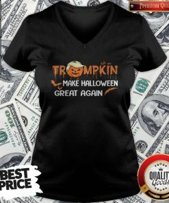Funny Trumpkin Make Halloween Great Again V-neck