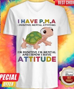 Funny Turtle I Have P M A I'M Positive I'M Mentally And I Know I Have Attitude V-neck