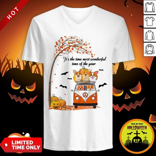 Halloween Corgi It's The Time Most Wonderful Time Of The Year V-neck