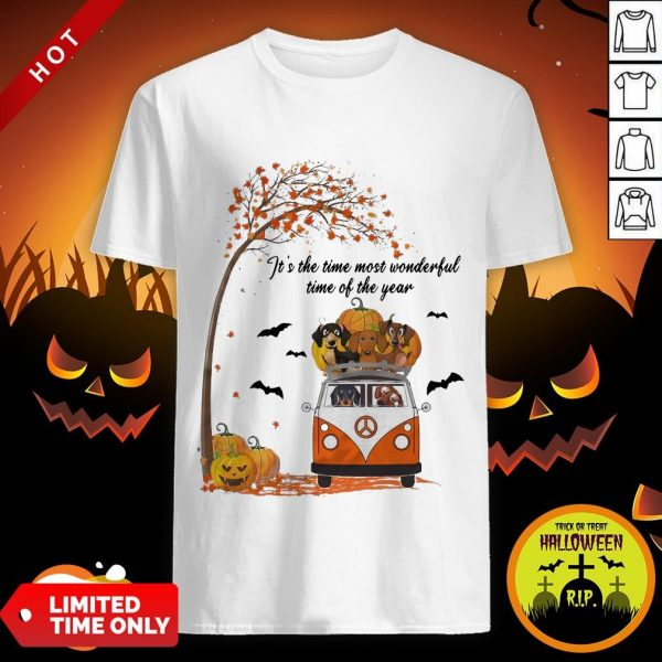 Halloween Dachshund Chibi It's The Time Most Wonderful Time Of The Year Shirt