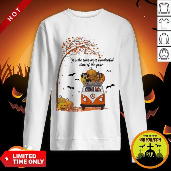 Halloween Dachshund Chibi It's The Time Most Wonderful Time Of The Year Sweatshirt
