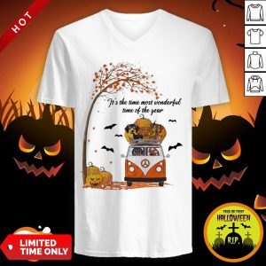 Halloween Dachshund Chibi It's The Time Most Wonderful Time Of The Year V-neck