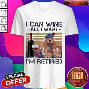I Can Wine All I Want I'M Retired Poodle Dog Vintage Retro Footprint V-neck